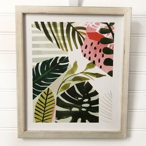 Abstract Leaf Print Rustic Wall Decor Hanging